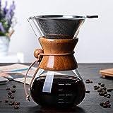 WINIAER Pour Over Kaffeebereiter Set, mit Edelstahlfilter, 600 ml Borosilikatglas-Karaffe und wiederverwendbarem Tropffilterbecher, Handwaschkanne