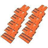 Trintion 10x Warnwesten NeonOrange Warnweste Sicherheitsweste Unfallweste Waschbar 360 Orange Refflektierend 70x60CM Kfz Pannenhilfe Reflektorweste Reflektierende für Auto Waschbar Knitterfrei
