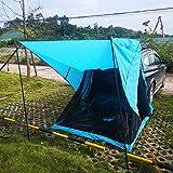 DOLA Zweischichtige Camping-Autozelte, Tragbares Reise-Autoschutzzelt Wasserdichtes, Feuchtigkeitsbeständiges Autobett, Selbstfahrendes Camping Mit Boden Und Markise Für Autokofferraum