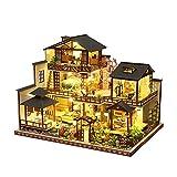 LZZB Miniatur Puppenhaus, DIY Hütte Mori Garten Holzspielzeug Kreatives Geschenk Holzhütte Puppenhütte Puppenhaus Simulation Modell Dekoration Holzspielzeug mit Musik und Puppen