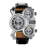 JewelryWe Herren Einzigartig Übergroße Armbanduhr DREI Zeitzone Analog Quarz Uhr Sportuhr mit braun Leder Armband