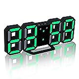 TRADE® LED Elektronische Wanduhr, Digital 3D LED Tabelle Wecker 24/12 Stundenanzeige Kunststoff Wecker Snooze Uhr Helligkeit automatisch einstellen (Schwarz, Grün)
