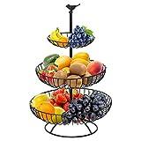 Hossejoy Obstkorb, 3 Stöckig Obstkorb für Mehr Platz auf der Arbeitsplatte, Obstschale & Snack-Verkaufsständer, Perfekt für Obst, Gemüse, Snacks, Haushaltsgegenstände (Schwarz)