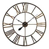 Antic by Casa Chic - Große Metall Wanduhr mit Quarz Uhrwerk - 76 cm Durchmesser - Römische Ziffern - Vintage Zeiger - Kupfer