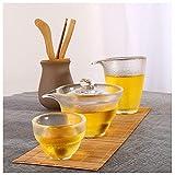 YUR Teetasse Aus Glas,verdickte, Hitzebeständige, Mattierte Teetasse,tragbares Reise-Tee-Set,kommt Mit 1 Teetasse, 1 Deckelschale Und 1 Männlichen Tasse (35 Ml / 160 Ml / 185 Ml)