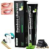 Aktivkohle Zahnpasta Schwarze Weiße Zähne Zahncreme Ohne Fluorid -Natürliche Zahnaufhellung Bamboo Charcoal Zahnpasta Toothpaste Whitening -Bleaching Bambus Kohle Zahnpasta Weisse Zähne 120g