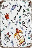 Halloween-Thema Katze Eule Fledermaus Krähe Kerze Zeichnung, Vintage Metall Zinn Zeichen Wanddekoration Kunst 15.7'x11.8' Familie Café Wanddekoration, Retro Art Malerei Eisenplatte Poster Wanddekorat