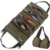 Werkzeugrolle Schraubenschlüssel Rollentasche,Leinwand Werkzeug Rolltasche,Mehrzweck Werkzeug Rolltasche,Autositz Aufbewahrungstasche mit 5 Reißverschlusstaschen für Auto Motorrad Elektriker