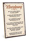 TypeStoff Holzschild mit Spruch – KLOORDNUNG – im Vintage-Look mit Zitat als Geschenk und Dekoration (Größe: 19,5 x 28,2 cm)