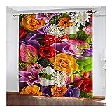 Bishilin Verdunklung Vorhänge Polyester Blickdicht Verschiedene Blumen, Kinderzimmer Vorhang Lang mit Ösen274x274CM