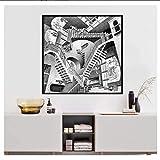 QWGYKR Mc Escher Relativity Optische Täuschung Zeichnung Abdeckung Poster Wandkunst Wandbild Leinwanddruck Wohnkultur Leinwanddruck-24X24 Zoll Kein Rahmen