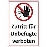 Schild Zutritt für Unbefugte verboten aus Alu/Dibond 140x200 mm - 3 mm stark