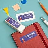 sendmoments Kinder Sticker, Stift, viele Motive und Farben, 99 Aufkleber rechteckig 48 x 16 mm, selbstklebend, personalisiert mit Namen für Schule, Sport und Freizeit