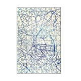 artboxONE-Puzzle S (112 Teile) Städte Montpellier Frankreich Blue Infusion Map II