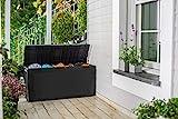 Auflagenbox/Kissenbox 270 Liter, Farbe: Graphit - 100% Wasserdicht - mit Belüftung dadurch kein übler Geruch/Schimmel - stilvolle Rattan Optik - einfache Montage - mit Rollen und G