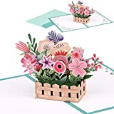 Giiffu 3D-Blumenkorb Pop Up Grußkarte Handgemachte Popup-Grußkarten für Muttertag, Valentinstag-Karte, Dankeskarte, Geschenkkarte, Freundschaftskarte