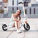 Hesyovy Leicht Scooter T-Style Stabile, aus Aluminiumlegierung, Klappbar und Höhenverstellbar, Big Wheel 195mm Räder Cityroller für Erwachsene (White)