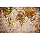 GREAT ART® Poster – Retro World Map – Old School Vintage Weltkarte Used Look Globus Kontinente Atlas Antik Weltkugel Geografie Kartografie Dekoration Wandbild Din A2 (42 x 59,4 cm)