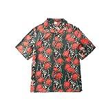 Luandge Herren Hit Farbdruck Hawaiihemd Trend Relaxed Streetwear All-Match Casual Kurzarmhemden Europa und Amerika M