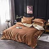 Bedding-LZ bettwäsche-Sets 155x220,Vierteiliges Bettwäscheset mit Sommerklimaanlage, nachgeahmte Seidenbettwäsche aus Tencel-Eisseide, weinrot-P_1,8 m Bett (4 Stück)