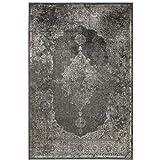 havatex Kunstseide Teppich Vintage Ornament - Anthrazit oder Silber   klassisches Muster modern interpretiert   Ultra leicht, flach & Soft mit edlem Seidenglanz, Farbe:Anthrazit, Größe:160 x 230 cm