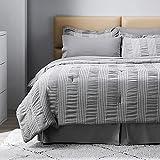 Bedsure King Comforter Set 8 Piece Bed in A Bag Stripes Seersucker Soft Lightweight Down Alternative Smoky Grey Bedding Set 102x90 inch