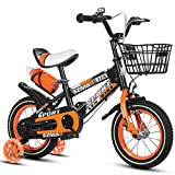 Chenbz Kinderfahrräder 18 Zoll männliche und weibliche Kinderwagen 6-9 Jahre alt Kinderfahrrad hochgekohlt Stahlrahmen, Orange/blau/rot Kinderfahrrad (Farbe: Orange)