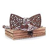 Mahoosive Herren Holz Fliege und Einstecktuch Set mit Holzkoffer - Braun - 14 cm
