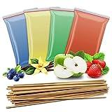 4x 200g Aromazucker + 50 Zuckerwattestäbe   Vanille – Apfel - Erdbeere - Blaubeere   4 Sorten Zucker mit Geschmack für Bunte Zuckerwatte / Zuckerwattemaschine   800 Gramm gesamt