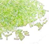 3300 Stück Glas Rocailles Perlen 6mm, Glas Bugle Stiftperlen, Röhrchen, Tubes, Stäbchen perlen, Roccailles, Seed Beads (Hell Grün AB Transparent)