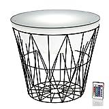 Arnusa Runder Couchtisch 60 x 55cm LED Beleuchtet Industrie-Stil Beistelltisch Tisch mit Fernbedieung und Farbwechsel modern