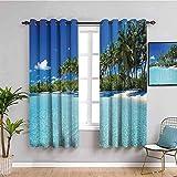 ZLYYH terrassentür Vorhang Blau Meer Bäume weiße Wolken Himmel BxL:168x229cm(84x229cm x2 Panel) mit Ösen 2 Stücke Romatisch Blickdicht Gardine für Wohnzimmer Kinderzimmer Schlafzimmer