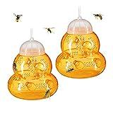 Relaxdays Wespenfalle 2er Set, Lebendfalle Wespen, ohne Lockstoff, zum Hinhängen & Hinstellen, Wespenfänger, orange