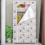 JLKDF Leinwand Kleiderschrank mit Reißverschluss Schlafzimmer Wohnzimmer Schlafsaal Kleidung Schuhe Geschlossener Lagerschrank Klappschrank Tragbar Staubdicht-Lotus Flower_70 * 45 * 155C