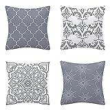 AMZQJD 4 Stück Kissenbezug Geometrische Muster Dekorative Kissenhülle Baumwolle Leinen Sie Kissenbezüge (Graues Muster, 40 x 40 cm)
