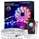 LED Strip 12.2M,SHINELINE LED Streifen mit APP Steuerung und Fernbedienung,RGB 5050 LED Lichter Sync Musik für Schlafzimmer,Raum,Küche,Party,Decke,Weihnachten Dek