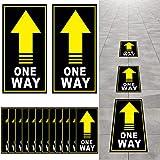 25 Stück Einweg Boden Aufkleber Zeichen Richtungspfeile Aufkleber Social Abstand Sicherheit Boden Einweg Abstand Zeichen Marker (Gelb, Schwarz, Weiß)