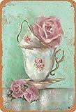 Deko-Schild aus Eisen, Motiv: Tea Time and Cup, 20 x 30 cm, Vintage-Look, für Zuhause, Küche, Badezimmer, Bauernhof, Garten, Garage, inspirierende Zitate