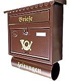 Pachurka & Dąże Großer Briefkasten/Postkasten XXL Kupfer/Bronce/Braun mit Zeitungsrolle Flachdach Katalogeinwurf Zeitungsfach