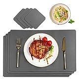 CHONLY Platzsets PU Kunstleder Tischsets 4er Sets Abwischbare Wasserdicht Platzdecken Lederoptik 45x30cm und Glasuntersetzer Rund Geschenke Kiste für Hause Küche Restaurant und Hotel