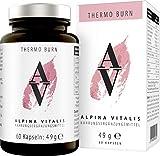 Alpina Vitalis Thermo Burn Fatburner, sorgfältig formuliert in der Schweiz, Abnehmen und Diät werden natürlich und effektiv unterstützt, 60 vegane Kapseln