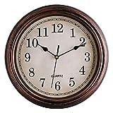 Foxtop Runde Retro-Wanduhr, Nicht tickend, leise Wanduhr dekorativ, batteriebetrieben, Quarz, analog, leise Uhr für Wohnzimmer, Küche, Schlafzimmer (Bronze, 30 mm)