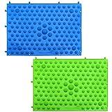 DXLing 2 Stück Fußmassagematte Reflexzonenmassage Matte Akupressur Fußmatte Fußreflexzonenmassage Matte fußreflexzonenmassage Matte Fußreflexzonenmatte für Fuß Entspannung(Blau und Grün)