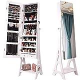 N \ A Schmuckschrank stehend, Spiegelschrank, 3-in-1, Aufbewahrung von Make-up, Wandschrank mit rahmenlosem Ganzkörperspiegel, Schloss und Metallgestell, abschließbarer Spiegelschrank