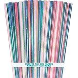 Papierstrohhalme, schillernd, 19 cm, Rosa, Blau, Grün, Weiß, 75 Stück
