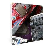 BANJADO Großer Schlüsselkasten aus Glas | Schlüsselbox mit 50 Haken weiß | beschreibbare Glastür | als Magnettafel nutzbar | Schlüsselaufbewahrung 30cm x 30cm | Motiv Spielautos Scharnier Links