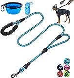 Queta Reflektierende Hundeleine mit 2 Griffen, 1,8 m, mit bequemer Polsterung, für kleine, mittelgroße und große Hunde (Hundeleine + Futternapf + Kulturtasche) (Blau)