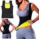 ELAIMEI Frauen Hot Sweat Body Shaper Tank Thermo Yoga Sauna Neopren Weste Fatburner Abnehmen Taille (XL=EU 40-42)