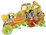 Hess Holzspielzeug 30301 - Garderobe aus Holz, Serie Baustelle, mit 5 Haken, für Kinder, ca. 37 x 23,5 x 6,5 cm groß, handgefertigt, als Blickfang in jedem Kinderzimmer und Flur