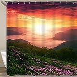 KGSPK Duschvorhang,Blüte Rhododendron Blumen Europa Berge,Wasserfeste Bad Vorhang aus Polyestergewebe mit 12 Haken Duschvorhang 180x180cm